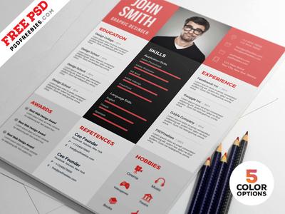 Designer Resume Template Free PSD Bundle