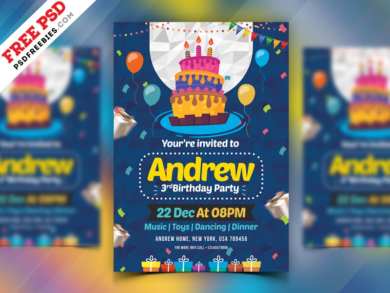 Birthday Party Invitation Card Psd By Psd Freebies On Dribbble
