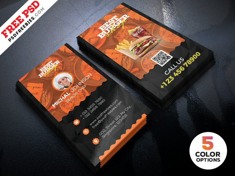 restaurant business card template psd bundle - Restaurant Business Card
