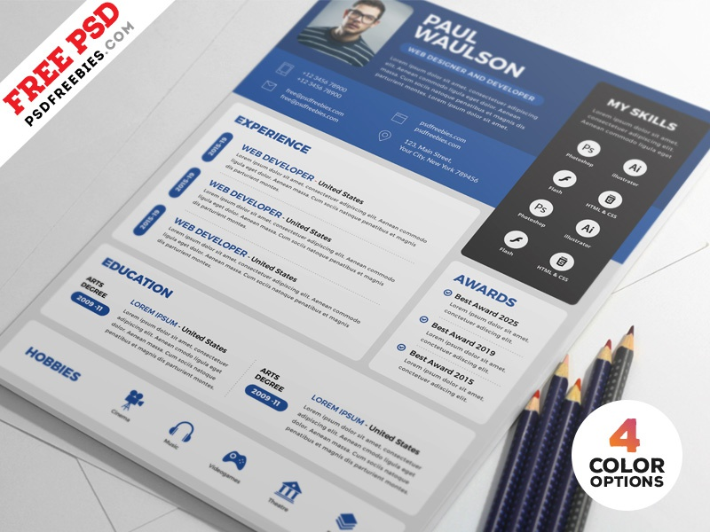 creative resume cv design free psd bundle by psd freebies