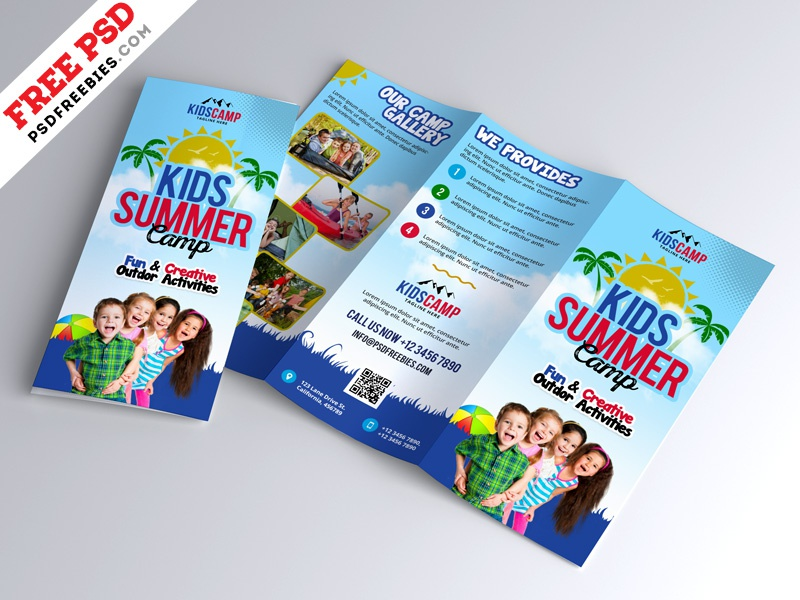 Kids Summer Camp Trifold Brochure Design Psd By Psd Freebies