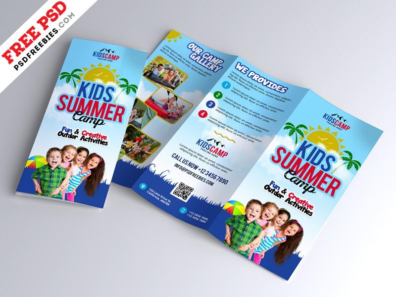 kids summer camp trifold brochure design psd by psd freebies