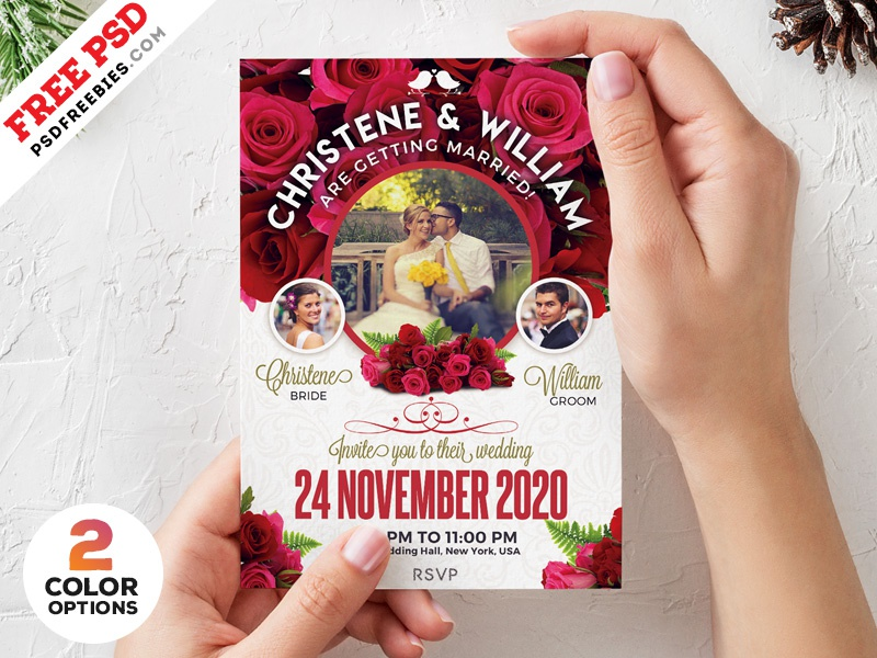 Wedding Invitation Card Template Psd Set By Psd Freebies On