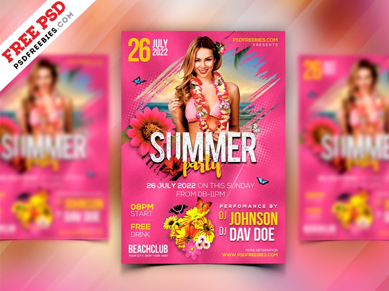 summer event party flyer design psd by psd freebies dribbble