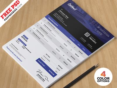 A4 Invoice Design Template PSD Bundle