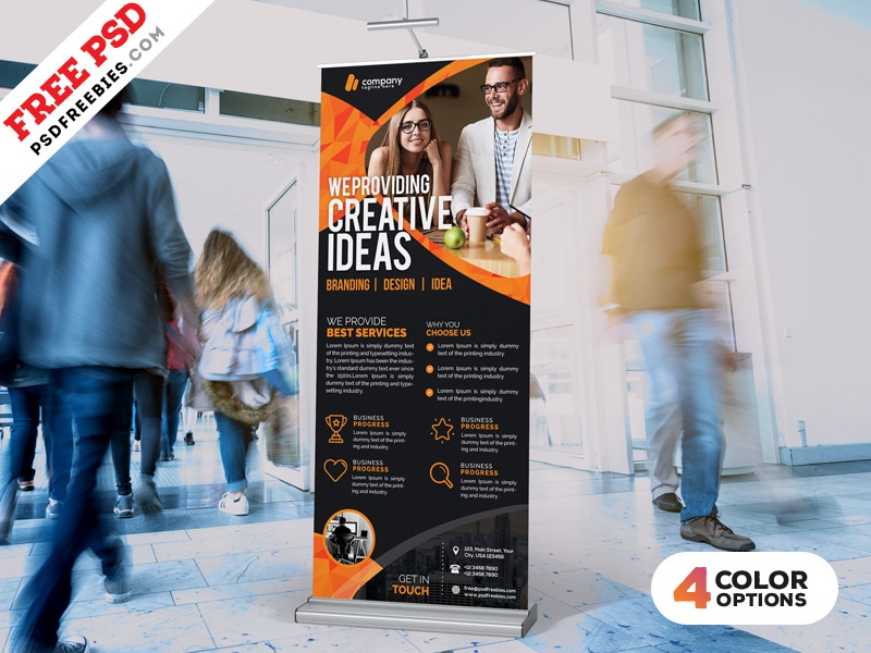 Free PSD : Roll-Up Banner Free PSD Bundle print banner standy display banner rollup corporate business advertisement psd free psd professional freebie