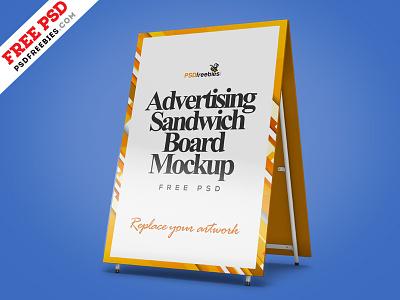 Advertising Sandwich Board Mockup PSD advertising mockups mockup free mockup signboard mockup board mockup sign street branding brand billboard sandwich board
