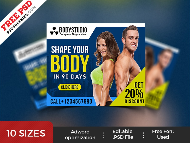gym web ad banner template psd set by psd freebies dribbble dribbble