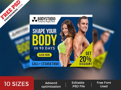 Gym Web Ad Banner Template PSD Set fitness banner free psd banner psd ad banner display banner photoshop ad display ad gym banner banner set