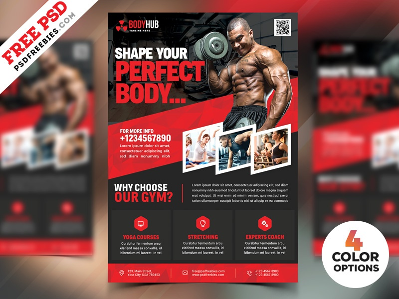 fitness gym flyer psd templates bundle by psd freebies dribbble