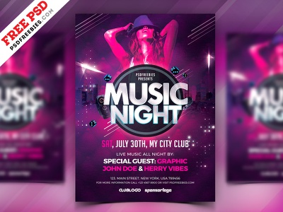 Music Night Party Flyer PSD free psd psd freebie party flyer psd flyer concert disco flyer party night creative flyer club a4 flyer