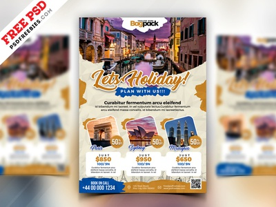 Holiday Travel Package Flyer Design PSD