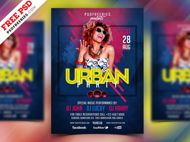 Free PSD : Urban Party Flyer Design PSD by PSD Freebies on Dribbble