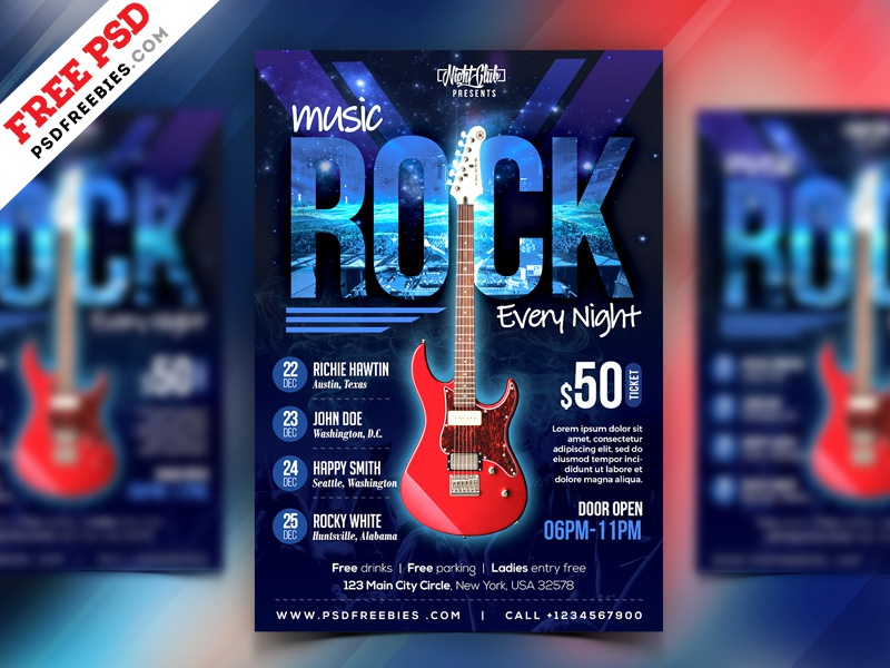 Free PSD : Rock Music Event Flyer PSD Template by PSD