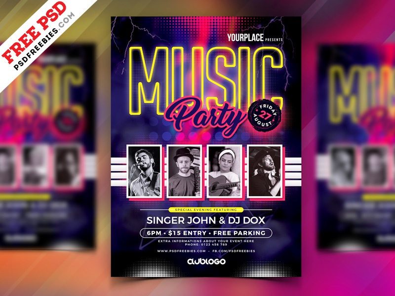 free psd   music party flyer template psd by psd freebies
