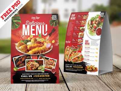 Restaurant Food Menu Table Tent PSD table tent tent card restaurant design restaurant food menu print flyer photoshop template download free template free design psd template freebie psd free psd