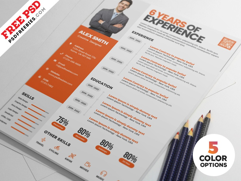 Clean Resume Design Templates PSD Cv Template Designer Creative