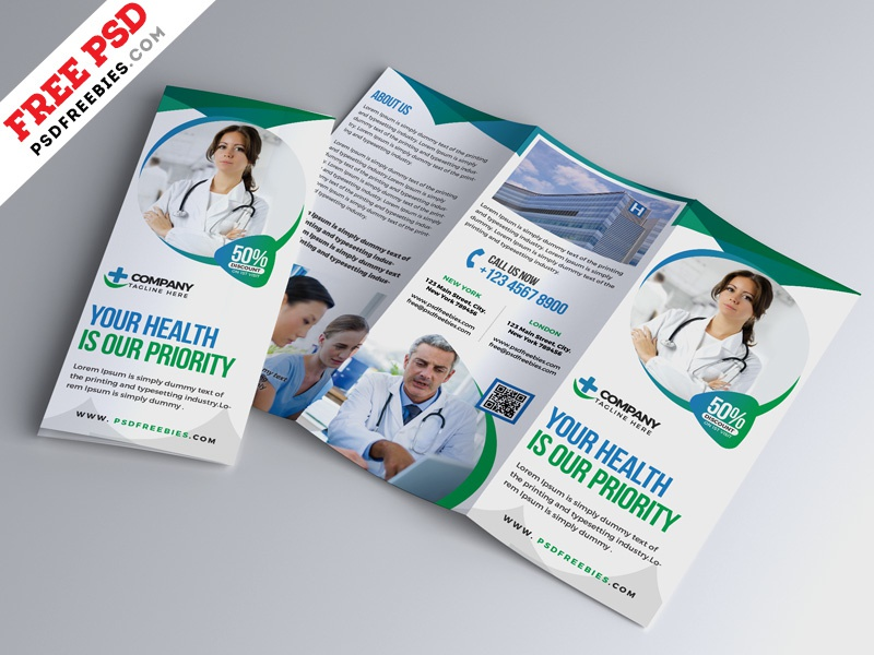 hospital medical business trifold brochure psd by psd freebies