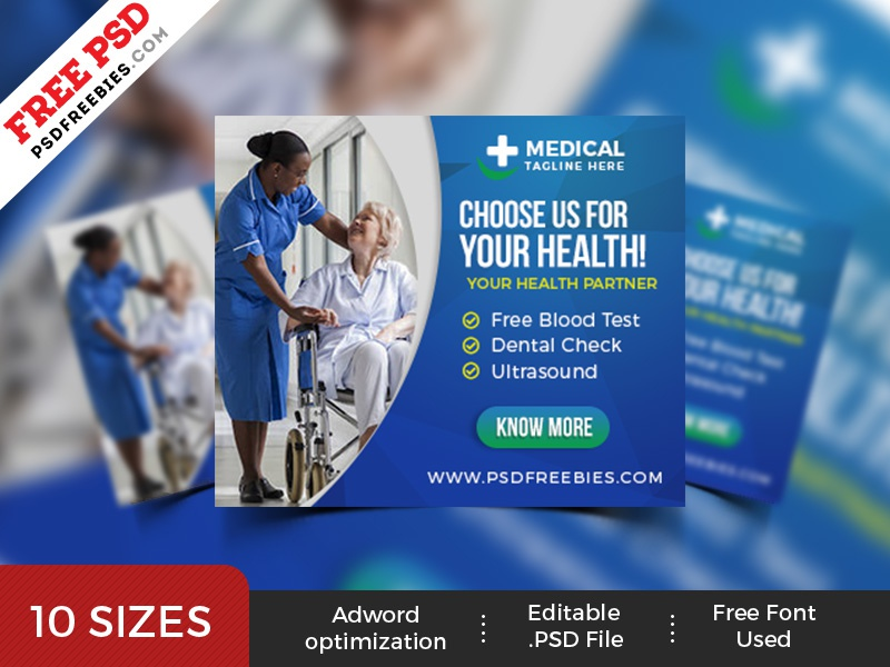 healthcare web ad banner set psd by psd freebies