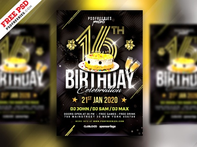 Birthday Night Party Flyer PSD birthday card birthday party party flyer birthday bash birthday flyer invitation card birthday download freebie photoshop print creative flyer template free template design psd template free psd free psd
