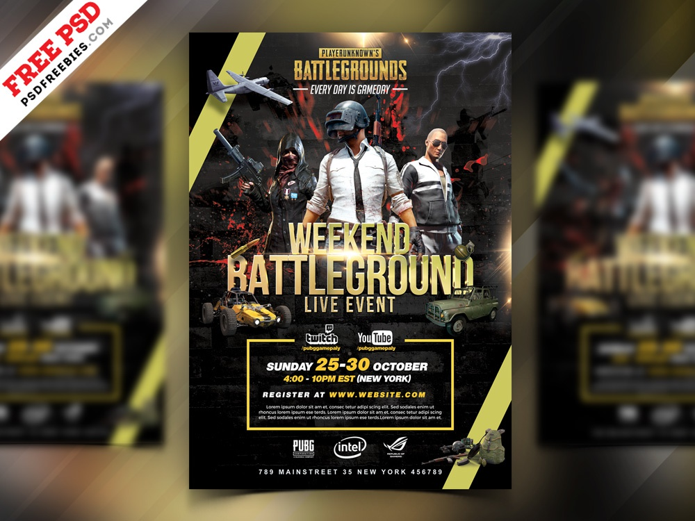 PUBG Tournament Flyer PSD Template gamers video game gamer event pubg game pubg flyer pubg psd flyer flyer photoshop template download free template design psd template free freebie psd free psd