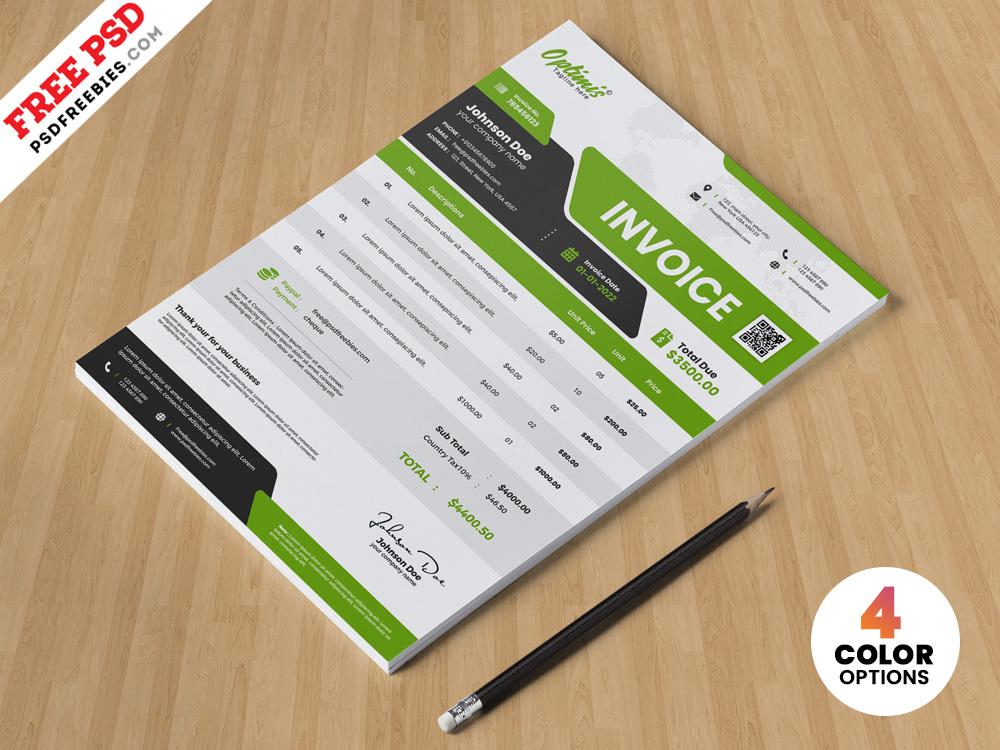 A4 Size Business Invoice Template PSD Design Ux Ui Logo Corporate Photoshop