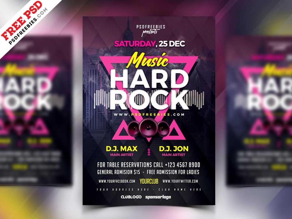 Rock Music Concert Flyer Template Psd By Psd Freebies Dribbble