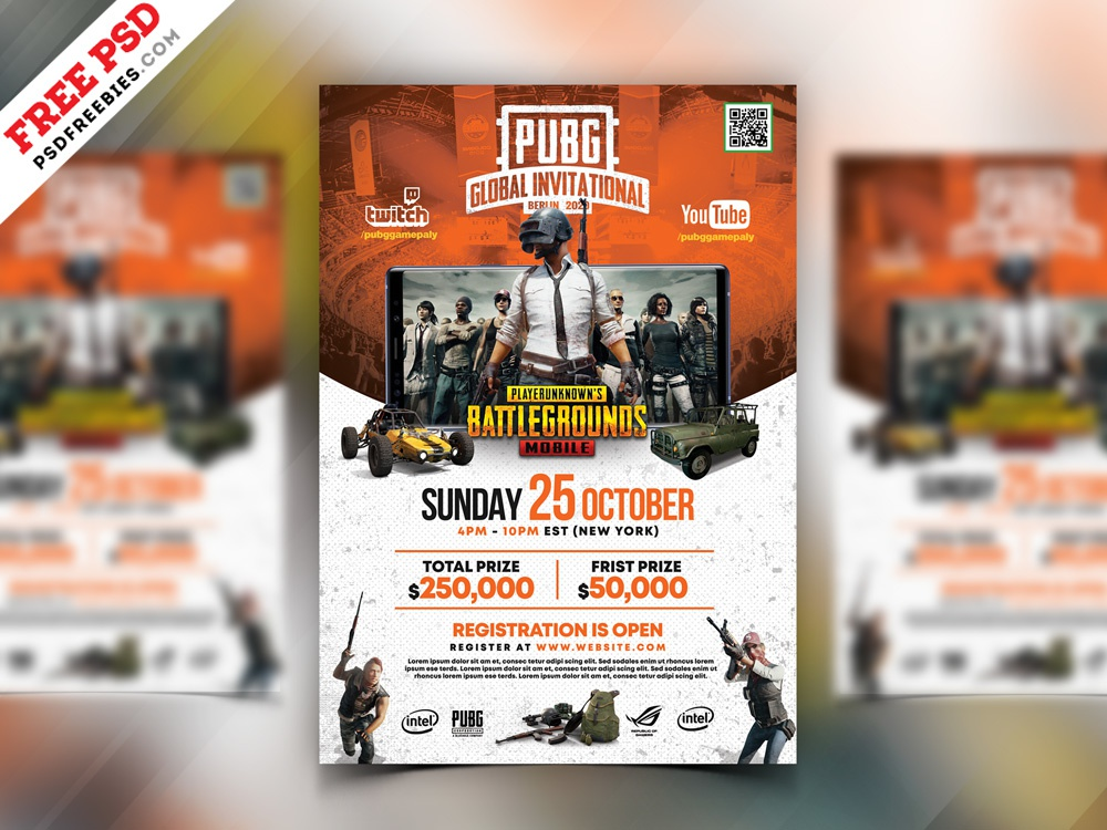 PUBG Gaming Event Flyer PSD by PSD Freebies on Dribbble