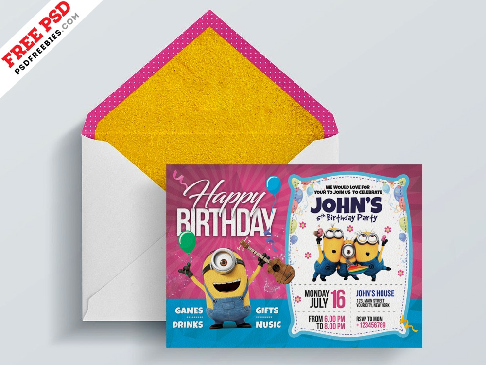Kids Birthday Invitation Card PSD Party Creative Template