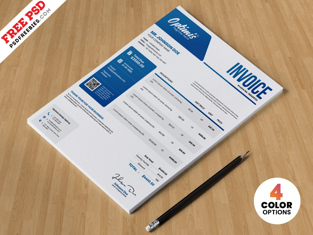 professional a4 invoice design template psd invoice template invoice design bill invoice photoshop download design free