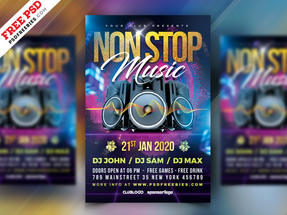 Non Stop Music Party Flyer PSD ad flyer advertisement party event psd flyer party flyer music event music print template photoshop download design free template psd template free psd free psd