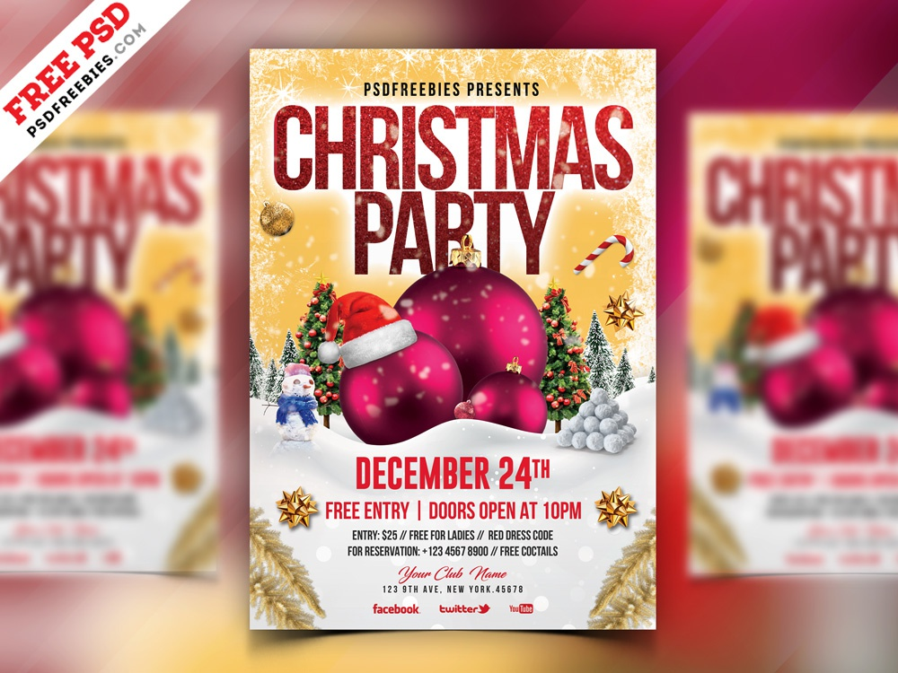 christmas party flyer design psd by psd freebies dribbble dribbble