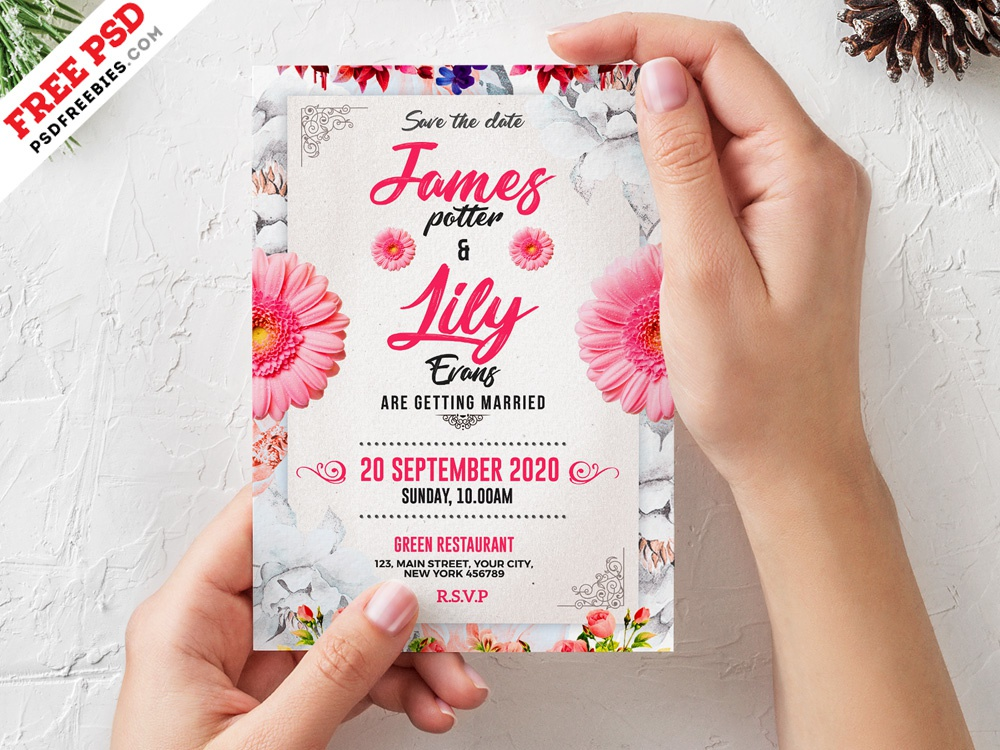 Wedding Invitation Card Template Psd By Psd Freebies Dribbble