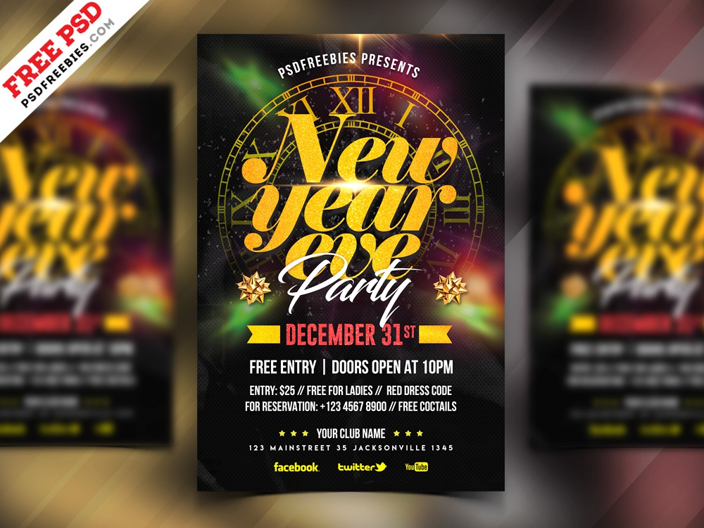 new year eve party flyer psd template by psd freebies dribbble