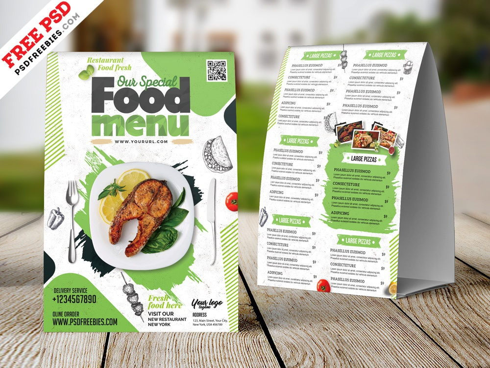 Restaurant Tent Card Food Menu Design Psd Cafe Photo Template