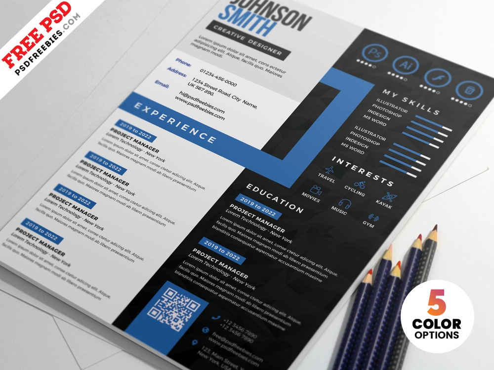 creative cv resume design psd templates by psd freebies