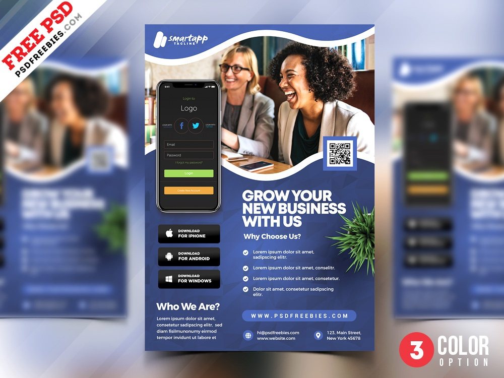 mobile application promotion flyer psd template by psd freebies