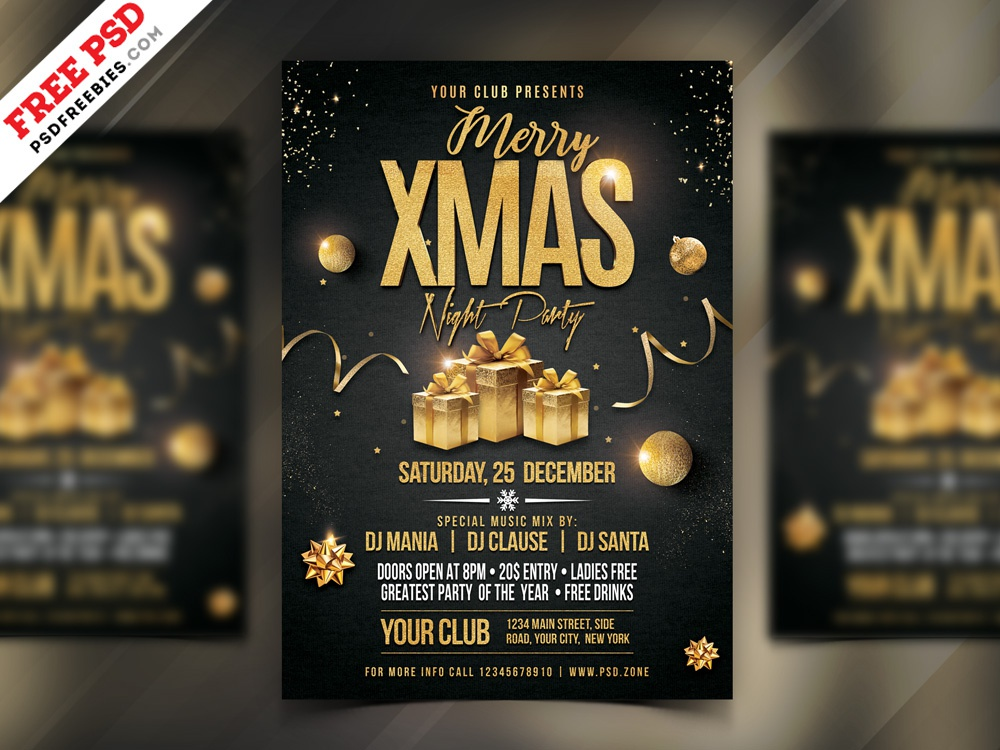 Merry Christmas Night Party Flyer PSD by PSD Freebies on
