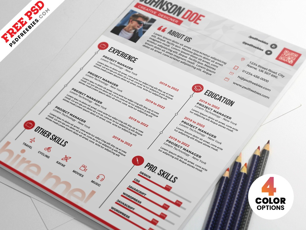 professional resume cv psd templates by psd freebies dribbble