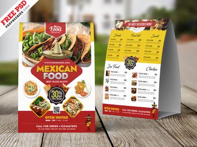 Mexican Food Menu Tent Card PSD