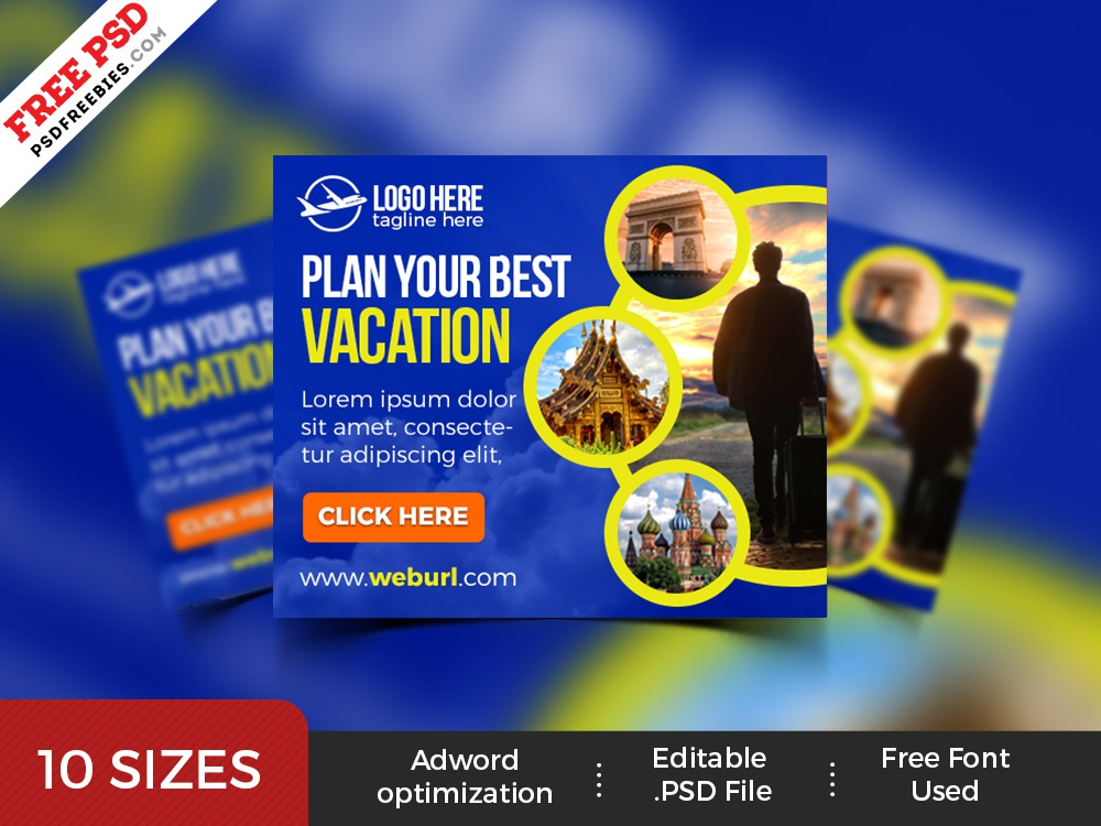 Travel Service Banner Ads Templates Psd By Psd Freebies Dribbble