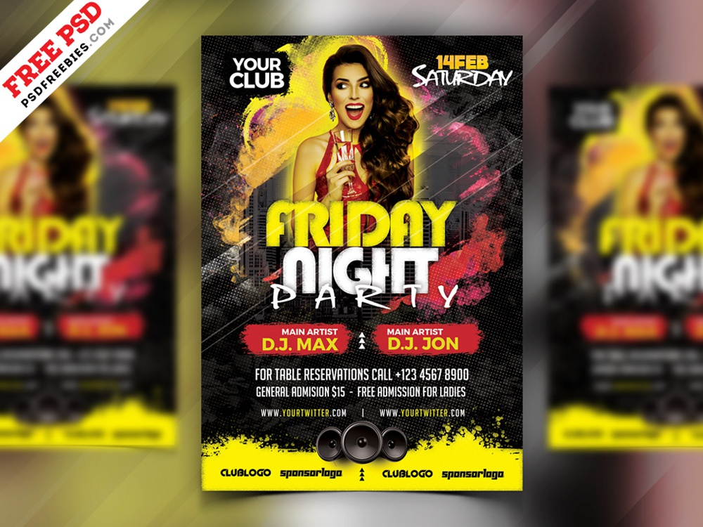 PSD Friday Night Party Flyer Design psd flyer template psd flyer flyer designs night party club flyer flyer design party flyer flyer creative print template photoshop free template psd template free freebie download psd free psd