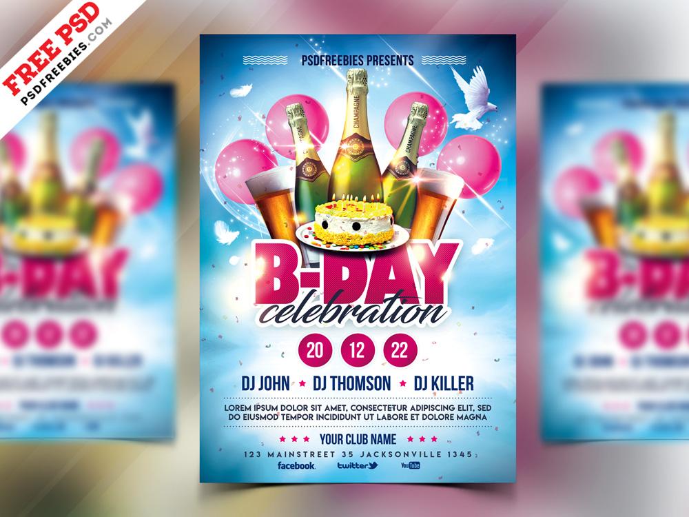 Birthday Party Celebration Flyer Design Psd By Psd Freebies