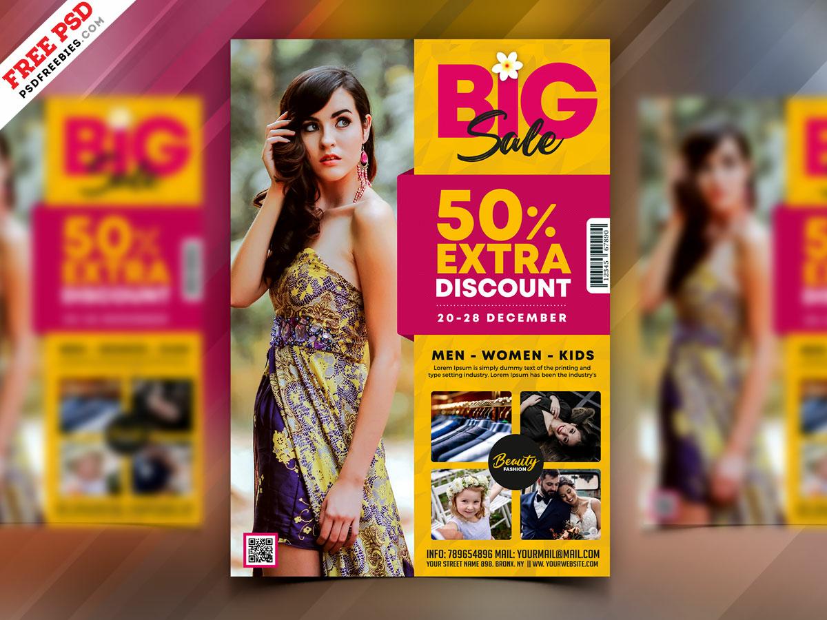 Fashion Big Sale Flyer Template PSD by PSD Freebies on Dribbble