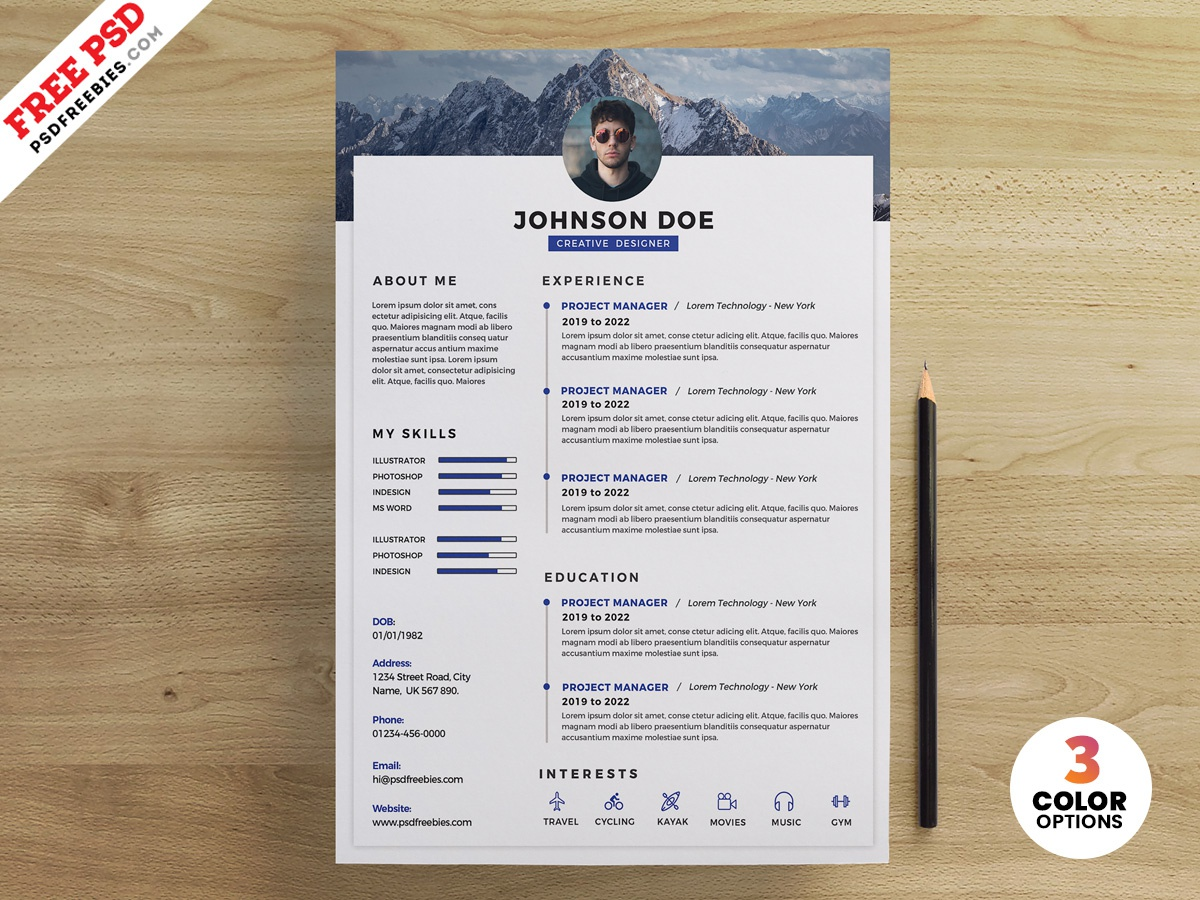 PSD Clean Resume Design Templates Cv Template Creative