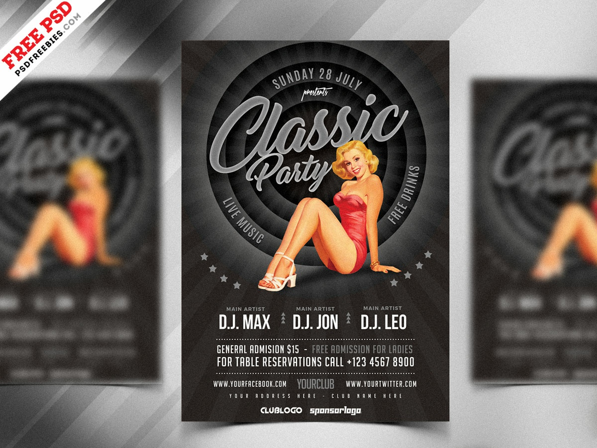 Vintage Style Party Flyer Design PSD print free template psd template free freebie party flyer psd flyer template free flyer psd flyer classic party retro classic psd free psd
