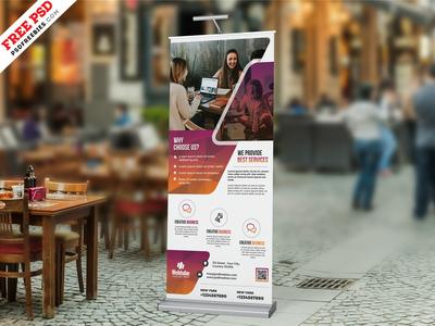 Business Advertisement Roll-up Banner PSD