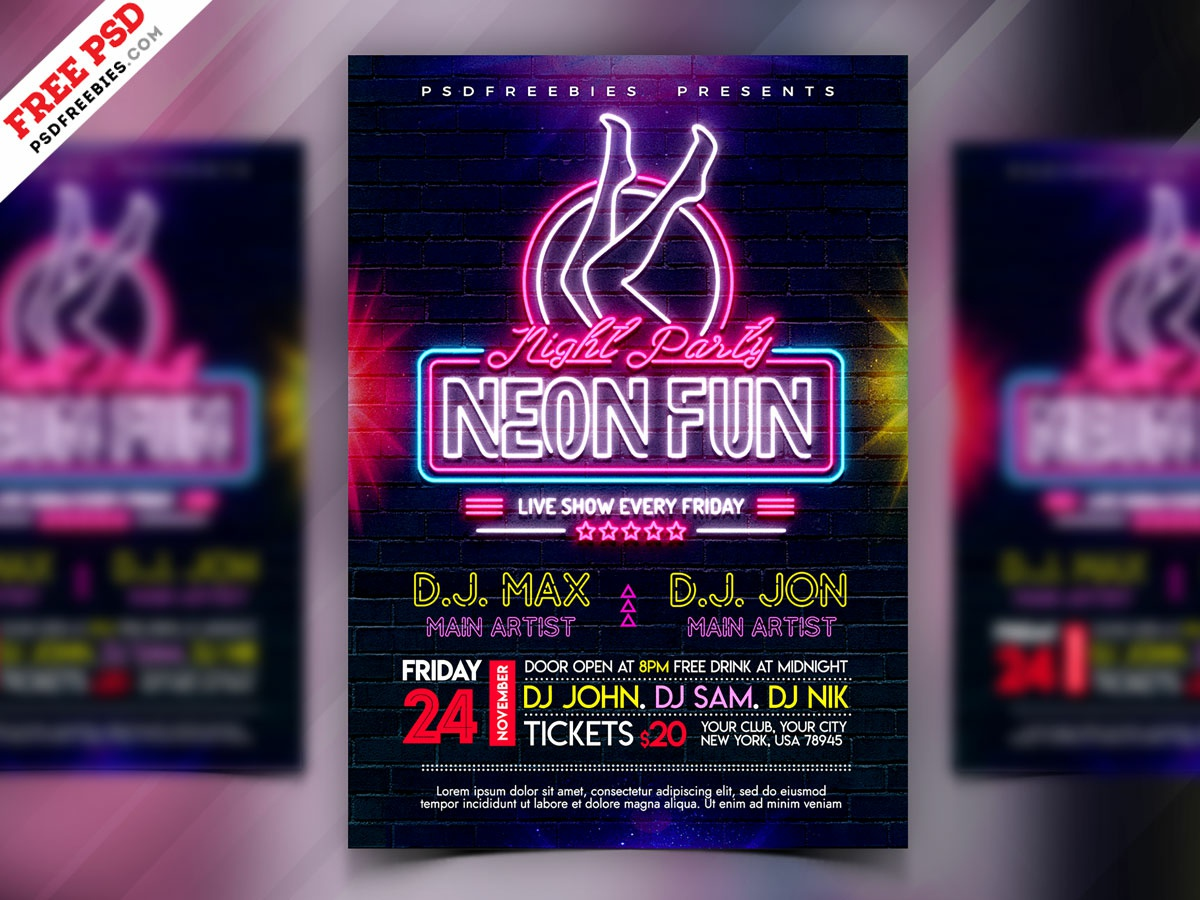 Neon Night Party Flyer Design PSD music event night party neon party neon light party flyer psd flyer flyer print template download photoshop design free template psd template free freebie psd free psd