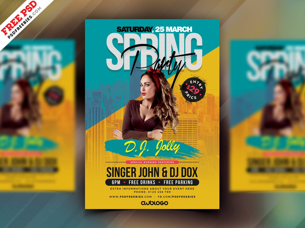 Spring Party Psd Flyer Design Psd By Psd Freebies On Dribbble