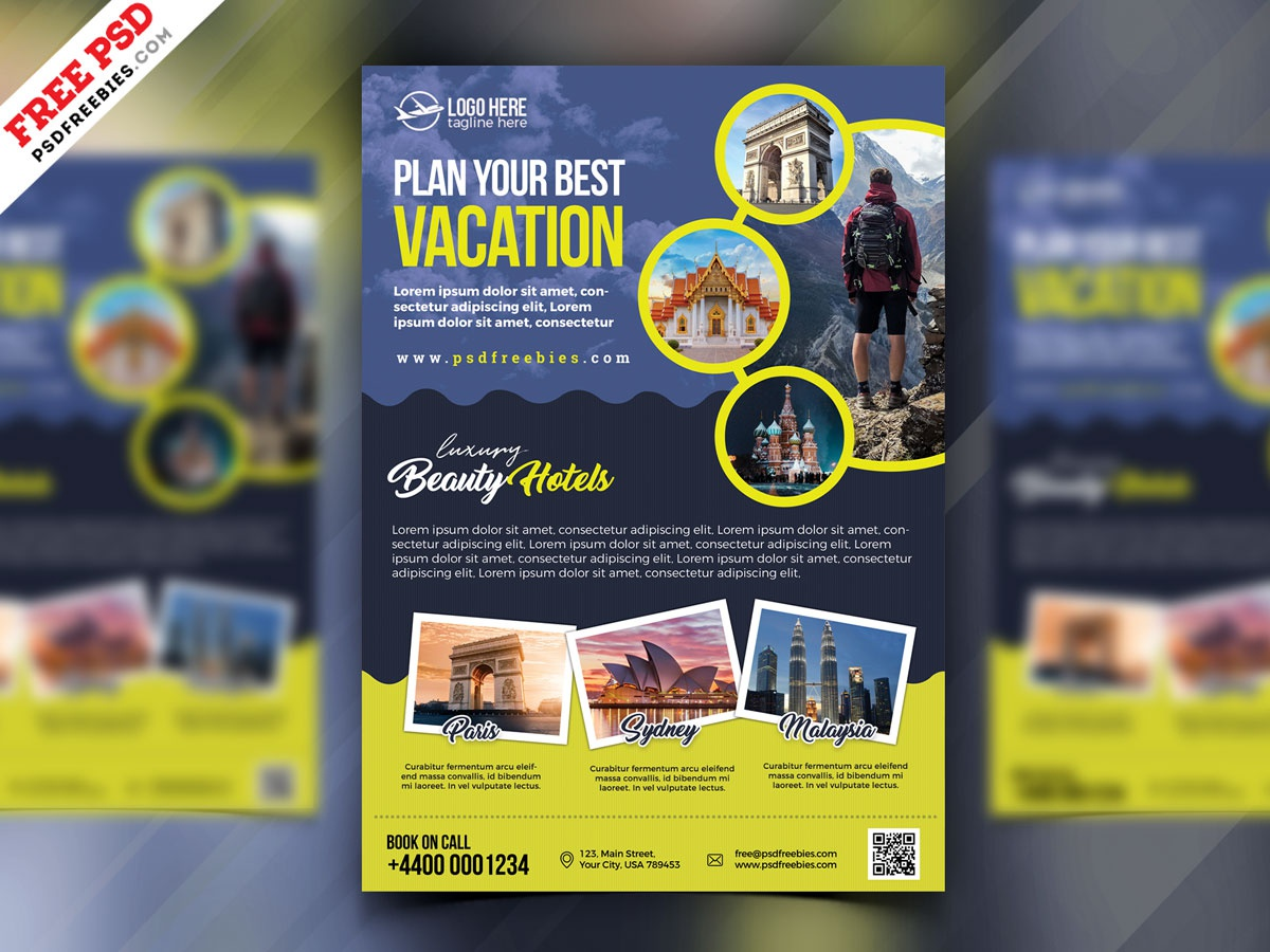 Travel Agency Advertisement Flyer PSD by PSD Freebies on